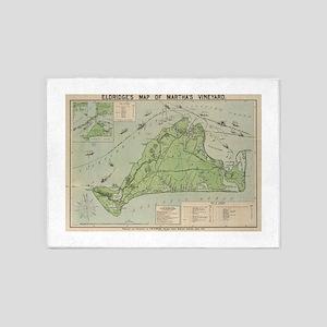 Vintage Map of Marthas Vineyard (19 5'x7'Area Rug