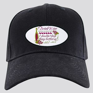 I Drink Wine Funny Quote Black Cap