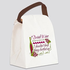 I Drink Wine Funny Quote Canvas Lunch Bag
