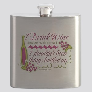 I Drink Wine Funny Quote Flask