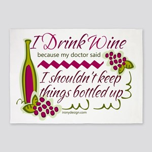 I Drink Wine Funny Quote 5'x7'Area Rug
