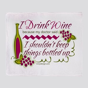 I Drink Wine Funny Quote Throw Blanket