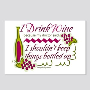I Drink Wine Funny Quote Postcards (Package of 8)