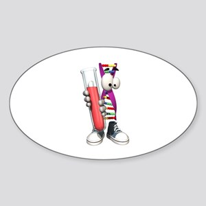 Funny DNA Testing DNA Strip Oval Sticker