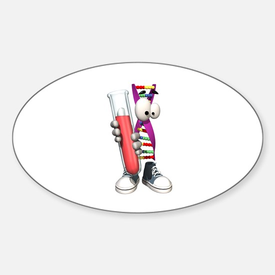 Funny DNA Testing DNA Strip Oval Decal