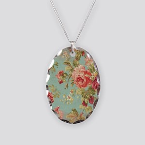 Beautiful Vintage rose floral Necklace Oval Charm