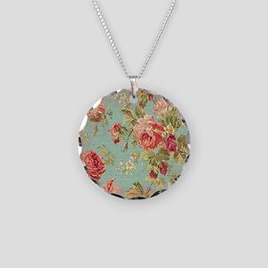 Beautiful Vintage rose flora Necklace Circle Charm
