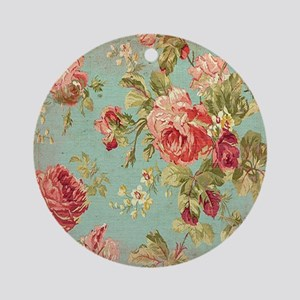 Beautiful Vintage rose floral Ornament (Round)