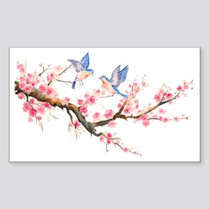 Watercolor pink cherry blossom Sticker (Rectangle)