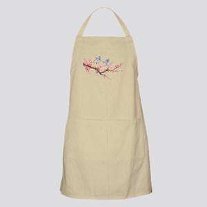 Watercolor pink cherry blossoms and blue bir Apron