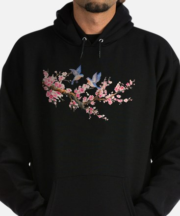 Watercolor pink cherry blossoms and Hoodie (dark)