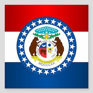 "Missouri Flag Square Car Magnet 3"" x 3"""