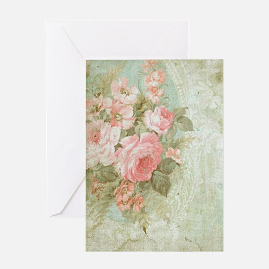 Chic vintage pink rose Greeting Cards