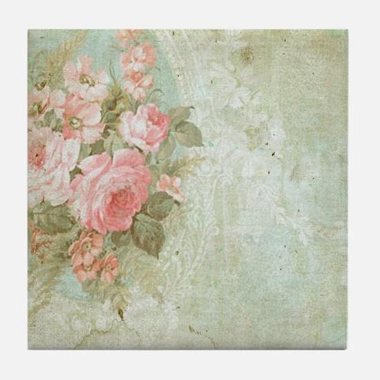 Chic vintage pink rose Tile Coaster