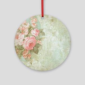 Chic vintage pink rose Ornament (Round)