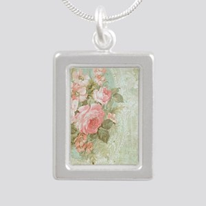 Chic vintage pink rose Silver Portrait Necklace