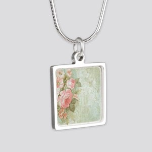 Chic vintage pink rose Silver Square Necklace