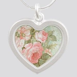Chic vintage pink rose Silver Heart Necklace