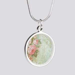 Chic vintage pink rose Silver Round Necklace