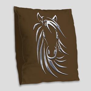 Silver Horse Head Burlap Throw Pillow