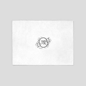 Silver Virgo Zodiac Sign 5'x7'Area Rug