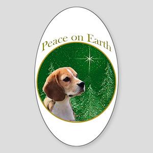 Beagle Peace Oval Sticker