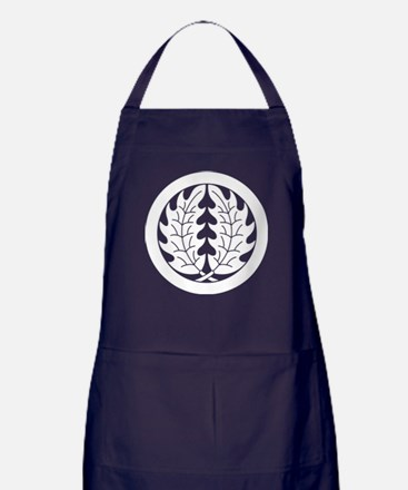 Embracing holly leaves in circle Apron (dark)