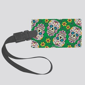 Sugar Skull Green Luggage Tag