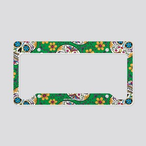 Sugar Skull Green License Plate Holder
