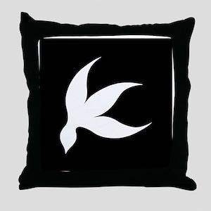 tropical white black rev Throw Pillow