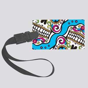 Sugar Skull Teal Luggage Tag