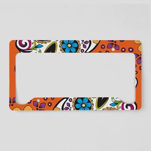 Sugar Skull Orange License Plate Holder