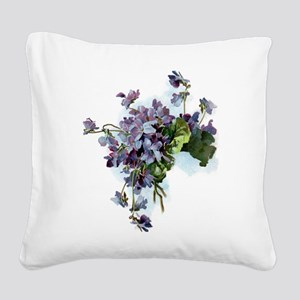 Violets Square Canvas Pillow