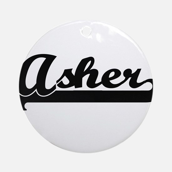 Asher Classic Retro Name Design Ornament (Round)