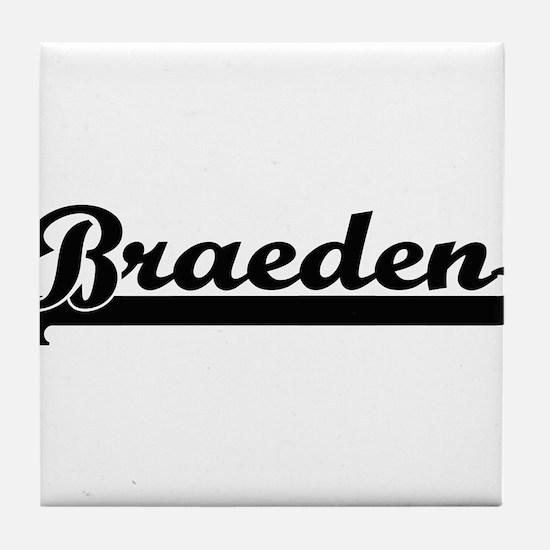 Braeden Classic Retro Name Design Tile Coaster