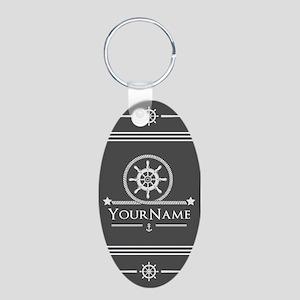 Nautical Gray Anchor Rope S Aluminum Oval Keychain