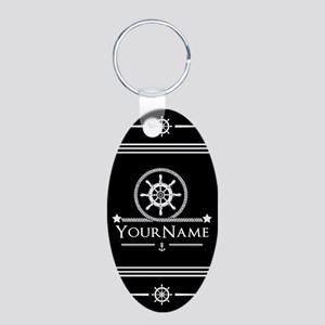 Black and White Nautical An Aluminum Oval Keychain