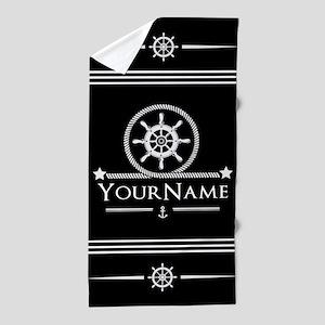 Black and White Nautical Anchor Monogr Beach Towel