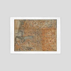 Vintage Map of Marseille France (19 5'x7'Area Rug