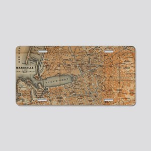 Vintage Map of Marseille Fr Aluminum License Plate