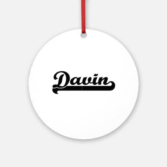 Davin Classic Retro Name Design Ornament (Round)