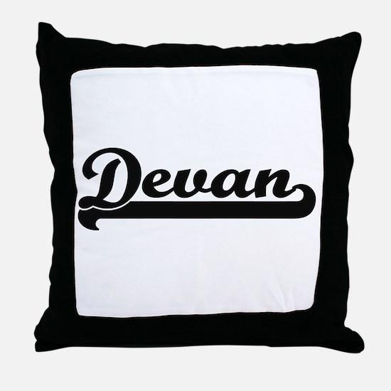 Devan Classic Retro Name Design Throw Pillow