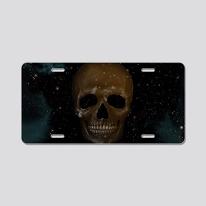 Space Skull Aluminum License Plate