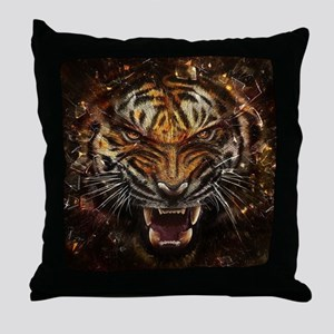 Angry Tiger Breaking Through Glass Throw Pillow