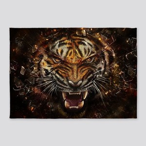 Angry Tiger Breaking Through Glass 5'x7'Area Rug