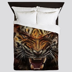 Angry Tiger Breaking Through Glass Queen Duvet