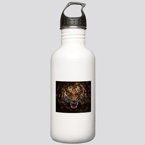 Angry Tiger Breaking Through Glass Water Bottle