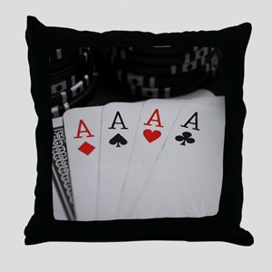 4 Aces Throw Pillow