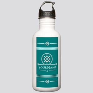 Teal and White Nautica Stainless Water Bottle 1.0L