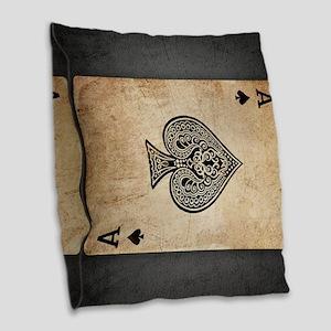 Ace Of Spades Burlap Throw Pillow